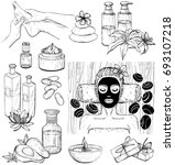 vector set of spa icons. sketch | Shutterstock .eps vector #693107218