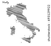 hand drawn map of italy sketch... | Shutterstock .eps vector #693129922