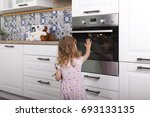 careless naive child girl... | Shutterstock . vector #693133135