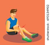 runner with injured calf crying ... | Shutterstock .eps vector #693134902