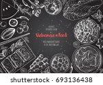 vietnamese food top view frame. ... | Shutterstock .eps vector #693136438