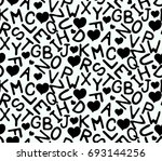seamless pattern with black... | Shutterstock .eps vector #693144256