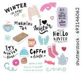 winter illustration and hand... | Shutterstock .eps vector #693146062