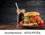 delicious fresh burger with... | Shutterstock . vector #693149356