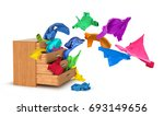 things flying out of a dresser... | Shutterstock . vector #693149656