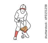 baseball player and softball...   Shutterstock .eps vector #693151258