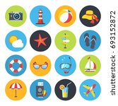 summer icon set. sunrise  sea... | Shutterstock . vector #693152872