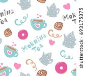 sweet seamless pattern with cup ... | Shutterstock .eps vector #693175375