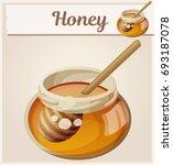 jar of honey and stick. cartoon ... | Shutterstock .eps vector #693187078