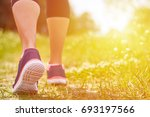 girl is engaged in cardio runs... | Shutterstock . vector #693197566