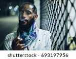 portrait of smoking man with... | Shutterstock . vector #693197956
