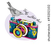 bright card. vintage camera in... | Shutterstock .eps vector #693202102