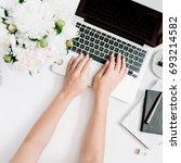 flat lay home office desk.... | Shutterstock . vector #693214582