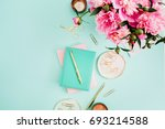 flat lay home office desk.... | Shutterstock . vector #693214588