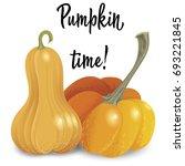 two different orange pumpkin... | Shutterstock .eps vector #693221845