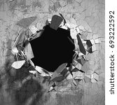 cracked explosion concrete wall ... | Shutterstock . vector #693222592