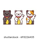 cute cartoon maneki neko ... | Shutterstock .eps vector #693226435