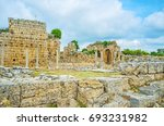 Small photo of The ruins of Palaestra in Perge, archaeological site of preserved Anatolian city, Antalya, Turkey.