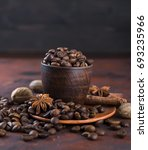 coffe beens with spices | Shutterstock . vector #693235966