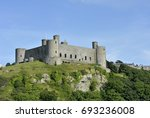 Harlech Castle in Gwynedd, North Wales, a medieval castle built in the 13th century by Edward I during his invasion of Wales.
