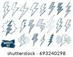 lightning doodle set. thunder... | Shutterstock .eps vector #693240298