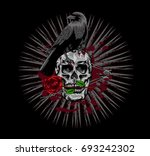 skull with crow | Shutterstock .eps vector #693242302