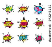 lettering hey  bang  price ... | Shutterstock .eps vector #693248182
