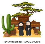 two muslim girls in western... | Shutterstock .eps vector #693269296
