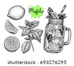 mojito drink and ingredients.... | Shutterstock .eps vector #693276295