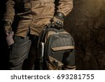 backpack and gear composition... | Shutterstock . vector #693281755