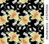 watercolor yellow roses and...   Shutterstock . vector #693290266