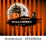 halloween pumpkin and the moon... | Shutterstock .eps vector #693308566