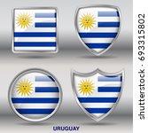 flag of uruguay in 4 shapes... | Shutterstock .eps vector #693315802