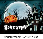 halloween pumpkins and dark... | Shutterstock .eps vector #693315955