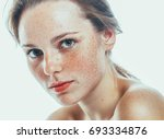 beautiful face woman freckles... | Shutterstock . vector #693334876