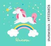 unicorn on rainbow. cute magic... | Shutterstock .eps vector #693336826