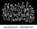cute fresh smoothies doodle | Shutterstock .eps vector #693346762