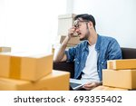 young asian man unsuccess for...   Shutterstock . vector #693355402