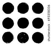 set of 9 black grungy ink brush ...   Shutterstock .eps vector #693358336