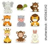 cute adorable animal icon set  | Shutterstock .eps vector #693363142