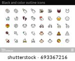 black and color outline icons... | Shutterstock .eps vector #693367216