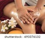selected focus on a massager's... | Shutterstock . vector #693376132