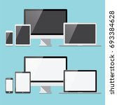 flat electronic devices set  ... | Shutterstock .eps vector #693384628