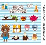 stock vector set of cute bear... | Shutterstock .eps vector #693395452