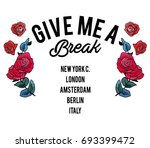 message slogan with  flowers 6 | Shutterstock .eps vector #693399472