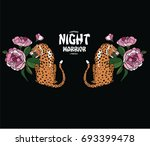 tiger and flowers illustration   Shutterstock .eps vector #693399478
