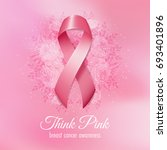 breast cancer pink ribbon with... | Shutterstock .eps vector #693401896