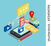 isometric phone conceptual... | Shutterstock .eps vector #693404596