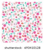vintage pink spring summer wild ... | Shutterstock .eps vector #693410128