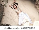 portrait of beautiful caucasian ... | Shutterstock . vector #693424096